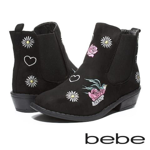 bebe Girls Microsuede Booties with Embroidries