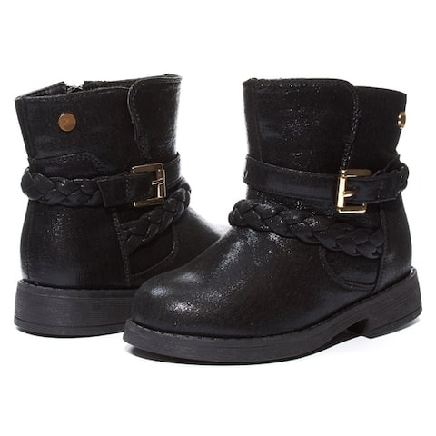 Sara Z Toddler Girls Shimmery Boots with Braided Staps