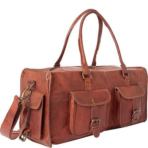 All Purpose Leather Carry On Travel Duffle Bag