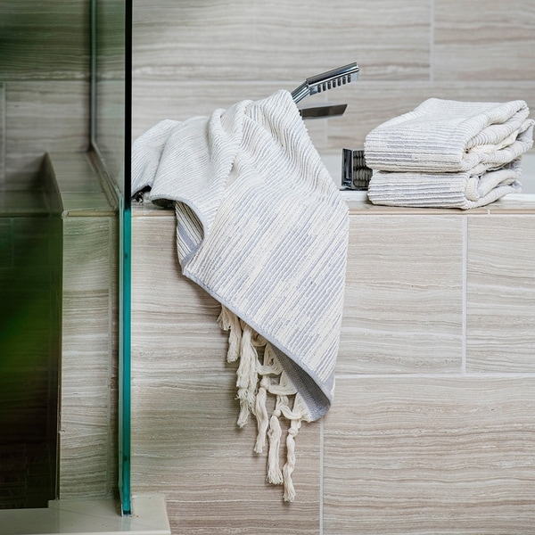 The Curated Nomad Vieng Textured Stripe Towels (Set of 4). Opens flyout.