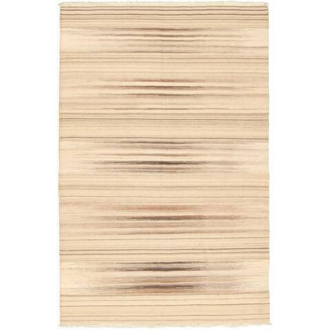Flat-weave Ivory Wool Rug - 5'0 x 8'0