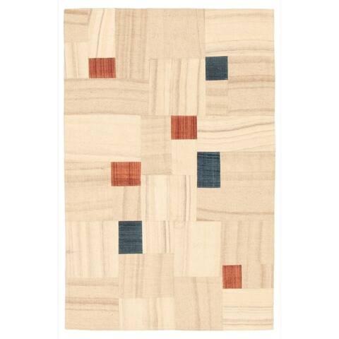 Flat-weave Moldovia Patch Cream Wool Kilim