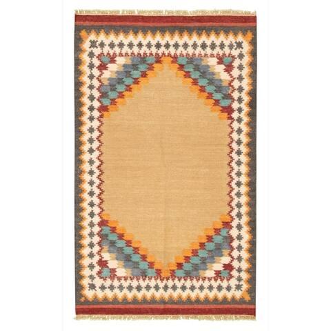 Flat-weave Ankara FW Khaki Wool Rug - 4'1 x 6'0