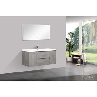 Alam-Pre 48 inch Cement Grey Wall Mount Vanity with Reinforced Acrylic Composite Sink