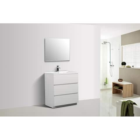 Alma-Edison 30 inch Gloss White Free Standing Vanity With Integrated Sink