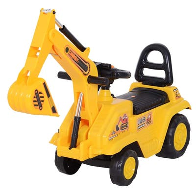 3 in 1 Ride On Toy Excavator Digger Scooter Pulling Cart Pretend Play Construction Truck
