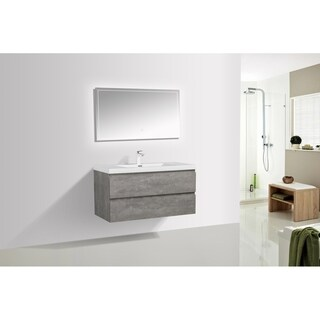 Alam-Pre 42 inch Cement Grey Wall Mount Vanity with Reinforced Acrylic Composite Sink