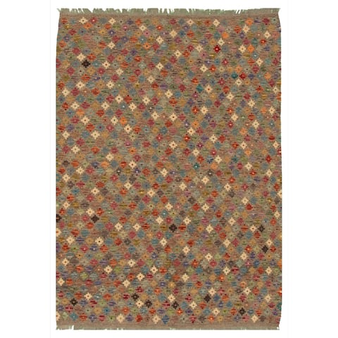 Flat-weave Bold and Colorful Grey Wool Kilim