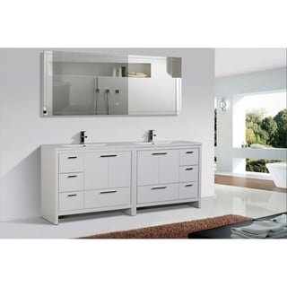 Alma-Allier 84 inch Gloss White Free Standing Doubel Sink Vanity with Integrated Sink