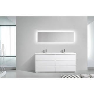 Alam-Edison 72 inch Gloss White Free Standing Double Sink Vanity With Integrated Sink