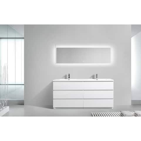 Alma-Edison 72 inch Free Standing Double Sink Vanity With Integrated Sink