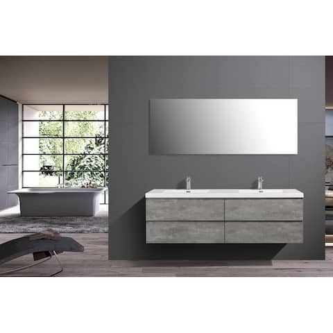 Alma-Pre 72 inch Double Sink Wall Mount Vanity with Reinforced Acrylic Composite Sink