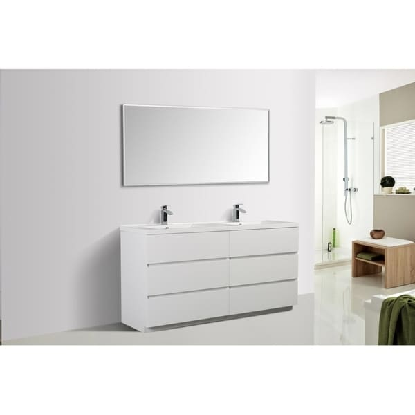 Alam-Edison 67 inch Gloss White Free Standing Double Sink Vanity With Integrated Sink