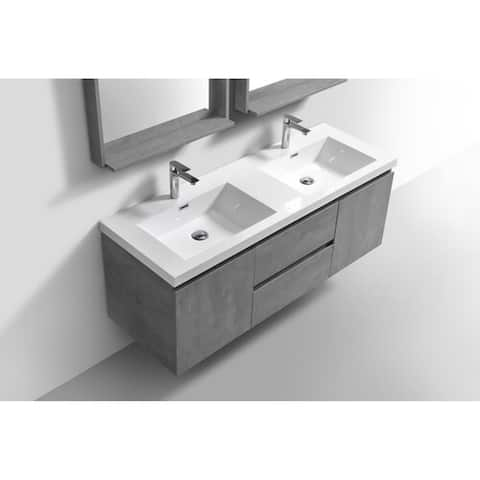 Alma-Pre 60 inch Double Sink Wall Mount Vanity with Reinforced Acrylic Composite Sink