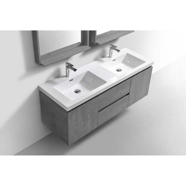 Alam-Pre 60 inch Cement Grey Double Sink Wall Mount Vanity with Reinforced Acrylic Composite Sink