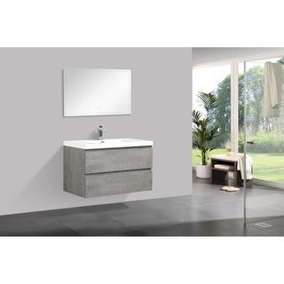 Alam-Pre 36 inch Cement Grey Wall Mount Vanity with Reinforced Acrylic Composite Sink