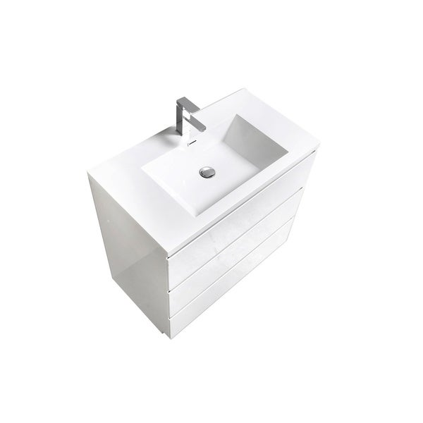 Alam-Edison 36 inch Gloss White Free Standing Vanity With Integrated Sink