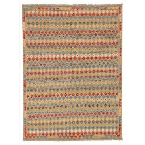 Flat-weave Bold and Colorful Multi Color Wool Kilim