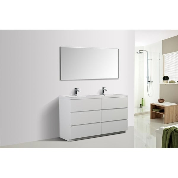 Alam-Edison 60 inch Gloss White Free Standing Double Sink Vanity With Integrated Sink