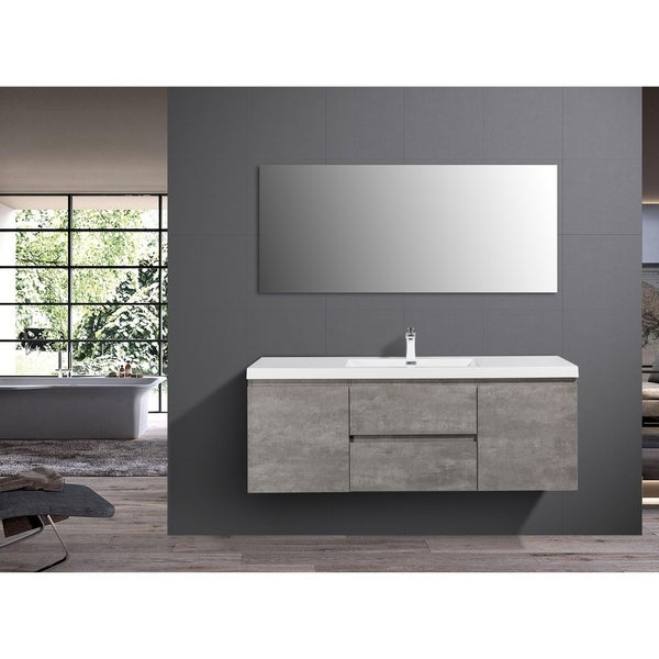 Alam-Pre 60 inch Cement Grey Single Sink Wall Mount Vanity with Reinforced Acrylic Composite Sink
