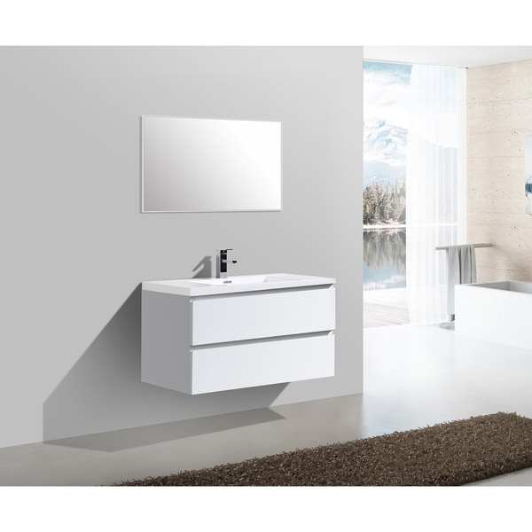 Alam-Angela 40 inch Gloss White Wall Mount Vanity with Integrated Sink