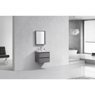 Alam-Pre 24 inch Cement Grey Wall Mount Vanity with Reinforced Acrylic Composite Sink