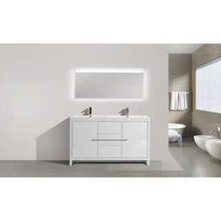 Alma-Allier 60 inch Gloss White Free Standing Doubel Sink Vanity with Integrated Sink