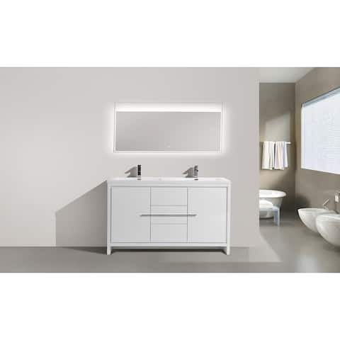 Alma-Allier 60 inch Free Standing Doubel Sink Vanity with Integrated Sink