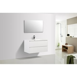 Alma-Slice 36 inch Gloss White wall mount vanity with reinforced acrylic composite sink