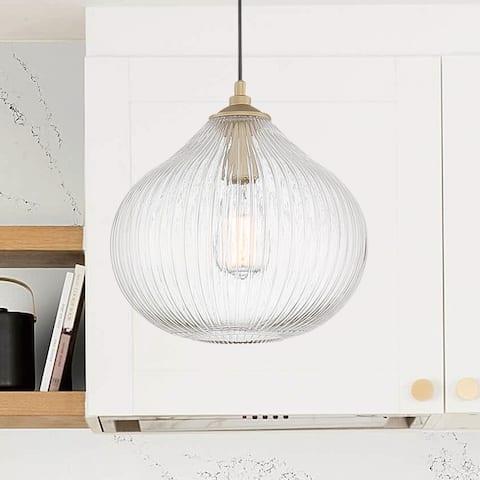 """Porch & Den Schaefer Rippled Glass 1-light Dome Pendant - 11.81""""x11.81""""x11.57""""-48.43"""""""