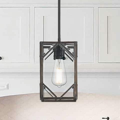 "Carbon Loft Dusabe Modern Elegant Cage 1-light Glass Pendant - 5.71""x 5.71""x 10""-52.05"""
