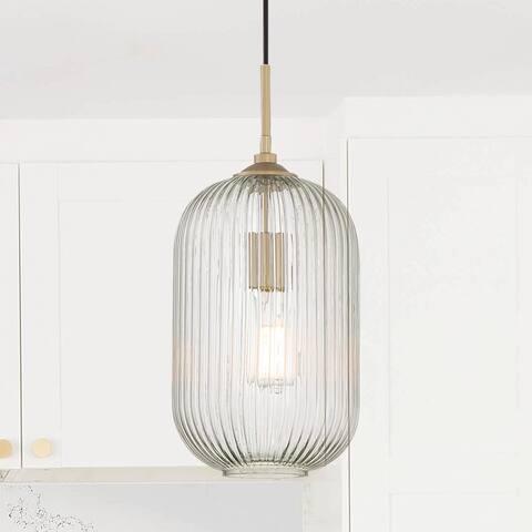 "Porch & Den Susan Elongated Ripple Glass Pendant - 7.87""x 7.87""x 14.57""-51.57"""
