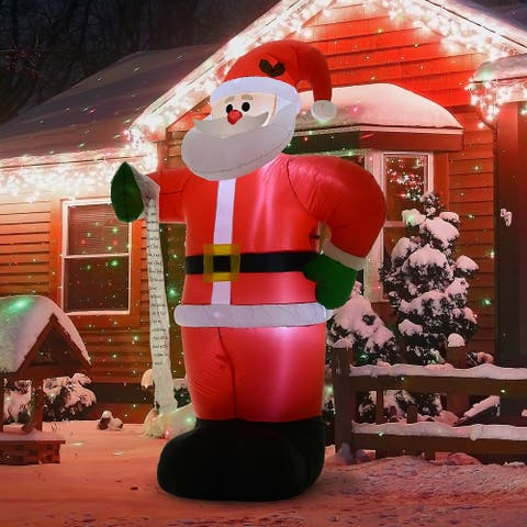 HOMCOM Airblown Inflatable Christmas Outdoor Lighted Yard Decoration, Santa Claus with List, 8' Tall