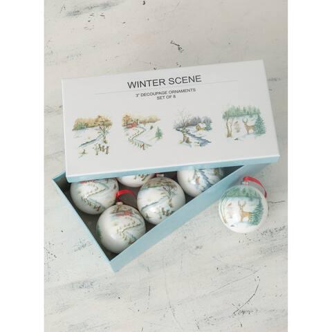 Winter Scene Ornaments - Set of 8