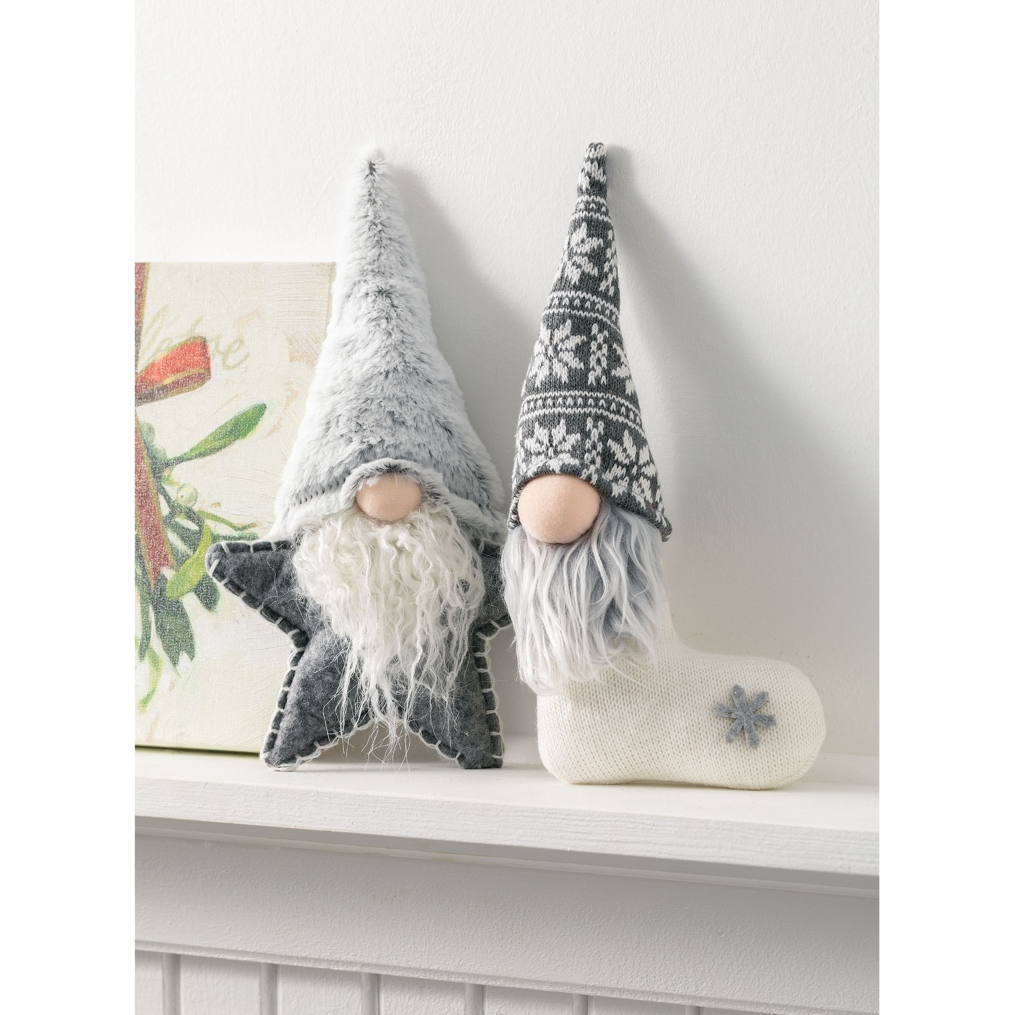"Shop Gnome and Star Stocking Plush Figurines - 5""L x 2.5""W x 11""H, 6.5""L x  2""W x 11""H - Overstock - 30337107"