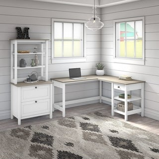 The Gray Barn Orchid Gulch L-shaped Desk with File Cabinet and Hutch