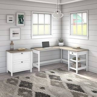 Mayfield 60W L Shaped Desk with Lateral File Cabinet by Bush Furniture