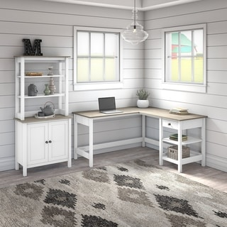 Mayfield 60W L Shaped Desk with 5 Shelf Bookcase by Bush Furniture