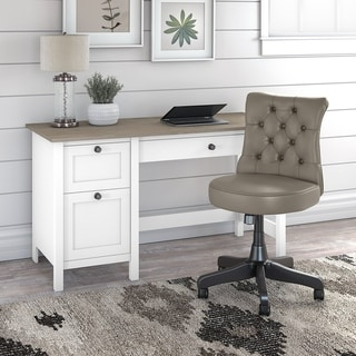 Mayfield Computer Desk with Drawers and Tufted Chair by Bush Furniture