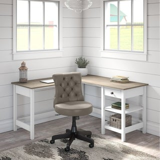 The Gray Barn Orchid Gulch L-shaped Desk with Storage and Tufted Chair