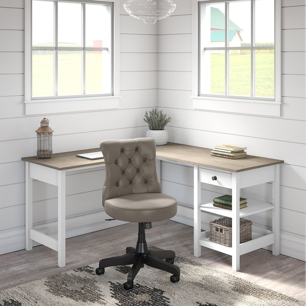 Mayfield L Shaped Desk with Storage and Tufted Chair by Bush Furniture