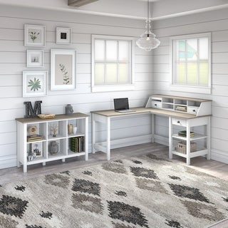 The Gray Barn Orchid Gulch L-shaped Desk with 6-cube Bookcase