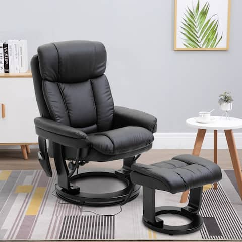 Copper Grove Laxey Massaging Faux Leather Recliner with Footrest