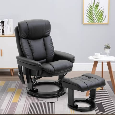 HOMCOM Massage Sofa Recliner Chair with Footrest, 10 Vibration Points, Faux Leather