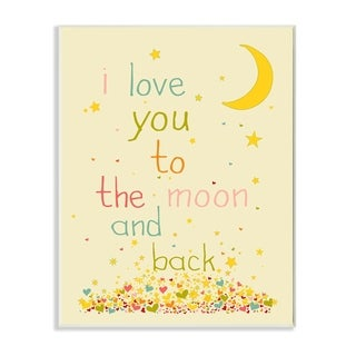 The Kids Room by Stupell  I Love You To The Moon And Back  Wood Wall Art,10 x 15, Proudly Made in USA - 10 x 15