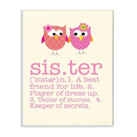 The Kids Room by Stupell Definition Of Sister With Pink Owls Wood Wall Art,10 x 15, Proudly Made in USA - 10 x 15