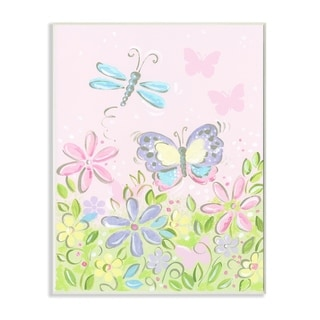 The Kids Room by Stupell  Pastel Butterfly and Dragonfly Wood Wall Art,10 x 15, Proudly Made in USA - 10 x 15