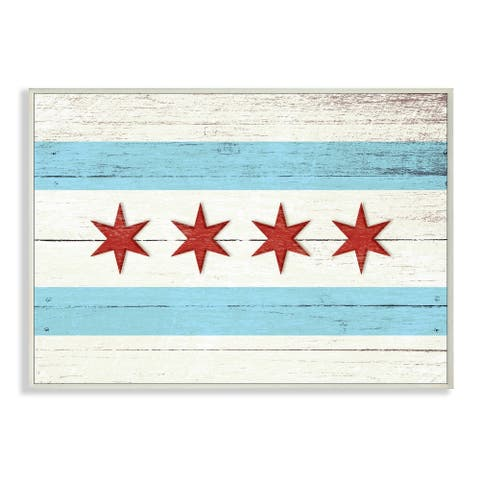 Stupell Industries Chicago Flag Distressed Wood Look Wood Wall Art,13 x 19, Proudly Made in USA - 13 x 19