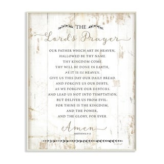 Stupell Industries The Lords Prayer Our Father Rustic Distressed White Wood Look Wood Wall Art,10 x 15, Proudly Made in USA
