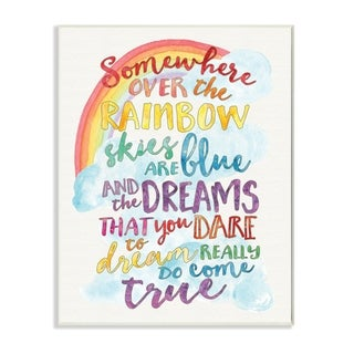 The Kids Room by Stupell Somewhere Over the Rainbow with Rainbow Wood Wall Art,13 x 19, Proudly Made in USA - 13 x 19